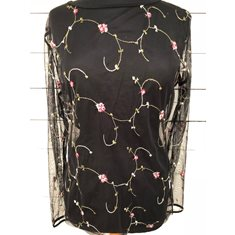 Top Flower Embr  Black
